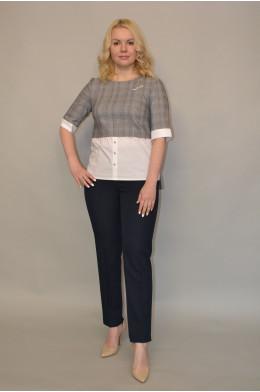 Бл-013. Блуза из Костюмной ткани и Рубашечным хлопком