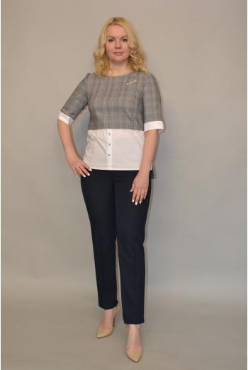 013. Блуза из Костюмной ткани и Рубашечным хлопком
