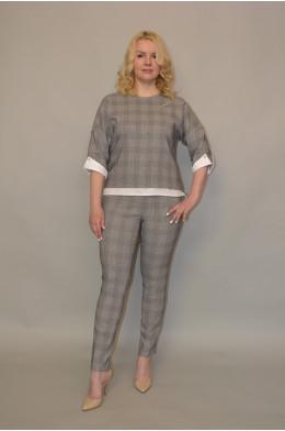 Бл-014. Блуза из Костюмной ткани и Рубашечным хлопком
