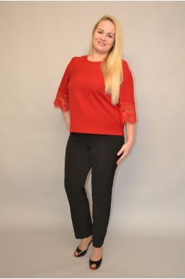 Бл-022. Блуза из Крепа и Гипюра цвет Красный