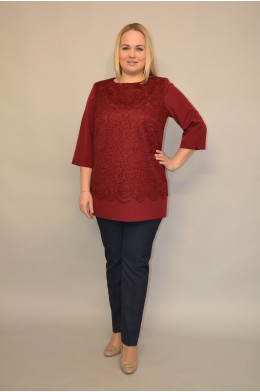 Бл-025. Блуза из Гипюра и Ткань Инда цвет Бордо