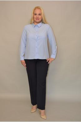048. Блуза из ткани Индо Голубая