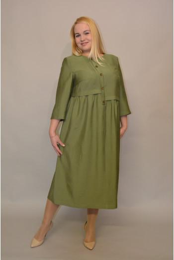 1007. Платье из Хлопка цвет Олива