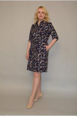 1002. Платье из Штапеля цвет Темно-синий
