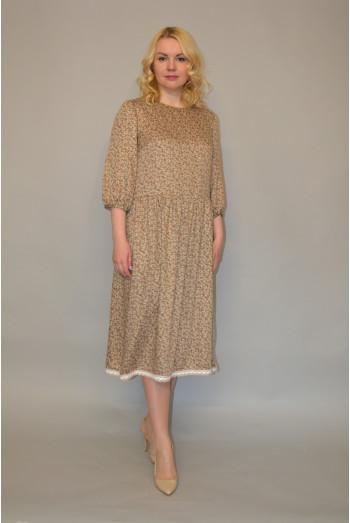 1005. Платье из Штапеля цвет бежевый