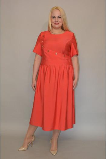 1026. Платье из Хлопка цвет Коралл