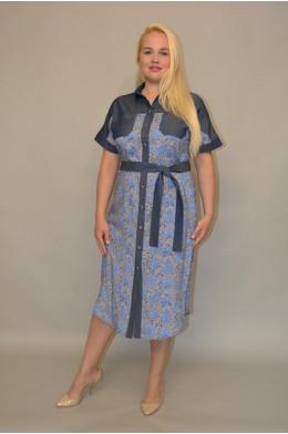 1039. Платье из тонкой Джинсы и Штапеля