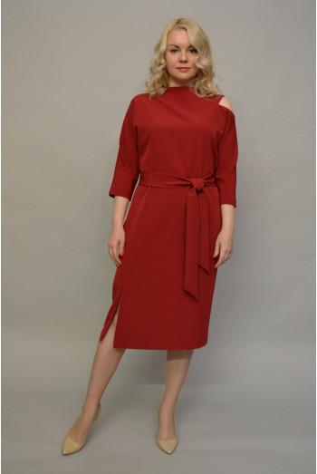 1087. Платье из Крепа цвет Красный