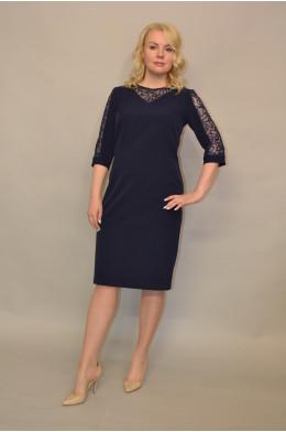 1105. Платье из Крепа цвет Темно-синий
