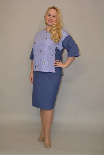 035.  Блуза из Льна цвет Темно-Синий