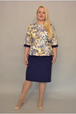 Бл-045.  Костюм: Блуза и Юбка из Крепа