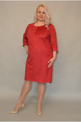 685. Платье из Замши цвет Красный