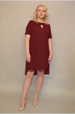 733. Платье из Крепа цвет Бордо