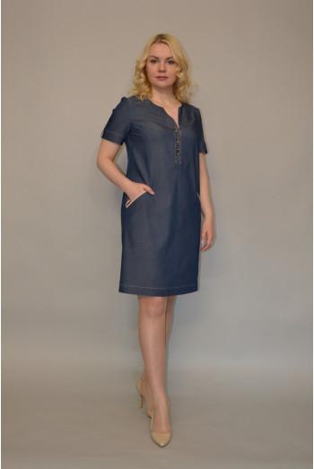 767. Платье из Джинсы цвет темно-синий