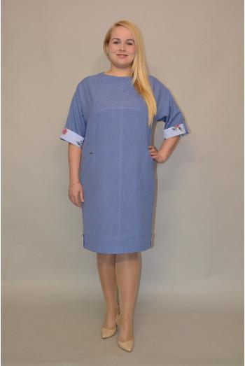 870. Платье из Льна цвет Темно голубой и Отделка Штапель