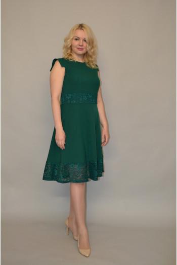 881. Платье из Крепа и Гипюра цвет Зеленый