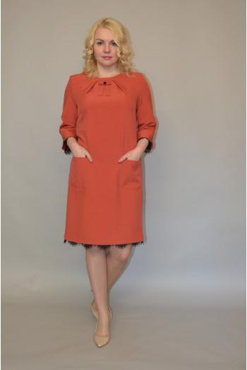 946/1. Платье из Костюмной ткани цвет Терракот