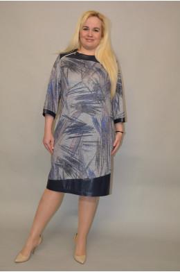 715. Платье из Трикотажа с отделкой Кожа