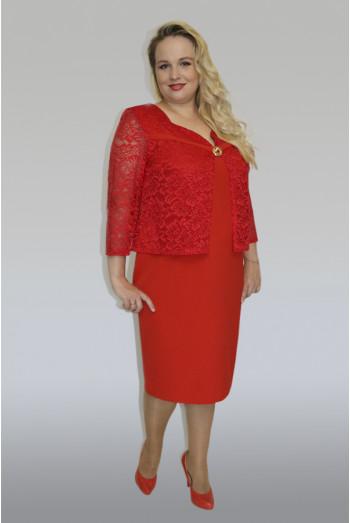 793. Платье из Гипюра и Крепа цвет Красный