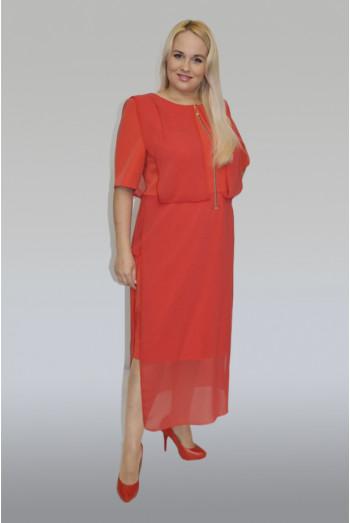 797. Платье Комбинированное из Крепа и Шифона