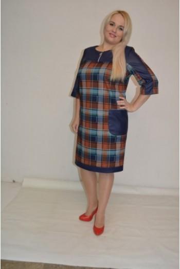 799. Платье Комбинированное из двустороннего Трикотажа в Клетку
