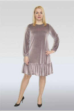 814.  Платье из бархата цвета пудра.