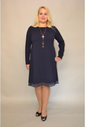 817. Платье из Крепа стрейч цвет Темно-синее