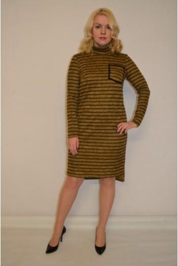 825/1. Платье из ангоры в полоску цвет горчица