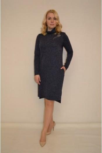 825. Платье из ангоры темно-синее