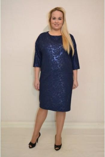 828. Трикотажное вязанное платье темно-синее с пайетками