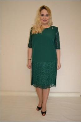 834/1. Платье из крепа с гипюром цвет Зеленый