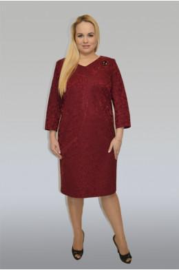 836. Платье из трикотажного жаккарда цвета Бордо