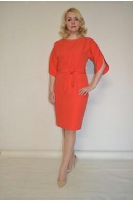 856. Платье из крепа стрейч цвет Коралл
