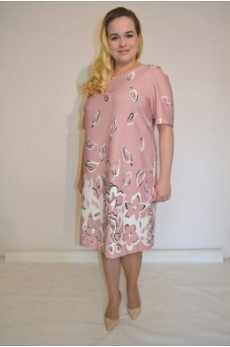 865. Платье из купонной ткани цвет Пудра