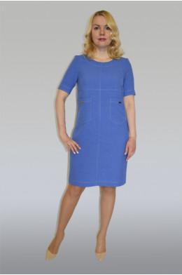 867. Платье из Льна цвета Темно-голубой
