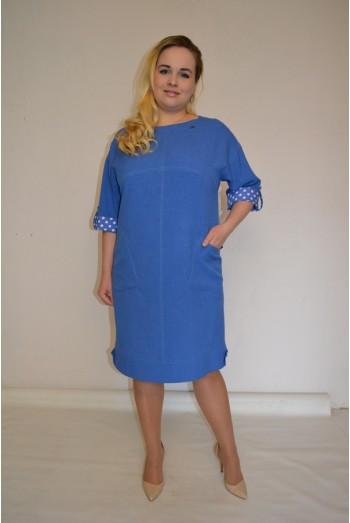 870. Платье Комбинированное из Льна и Джинсы