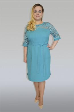 872. Платье из льна и гипюра цвет голубой