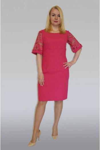 883. Платье из Льна и Гипюра цвет Фуксия