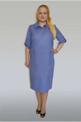 886. Платье из Льна цвет Синий