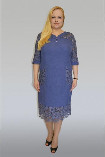 887. Платье из Льна и Гипюр-Джинс цвет темно-синий