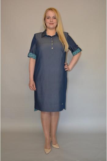 893. Платье из легкого темно-синего Джинса