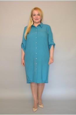 894. Платье из Льна цвета изумруд