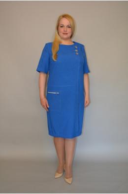 895. Платье из Льна цвета голубой