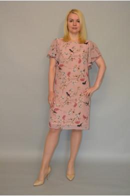 898. Платье из Шифона цвет розовый с принтом