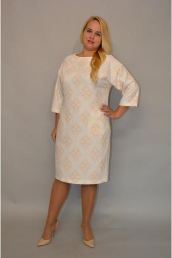 906. Платье из жакарда цвета Бело-бежевый