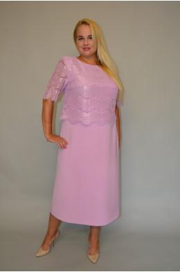 921. Платье из Крепа и Гипюра цвет Ярко-розовый