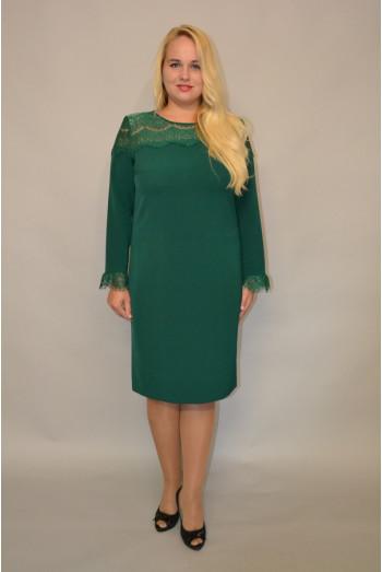 925. Платье из Крепа и гипюра цвет Зеленый