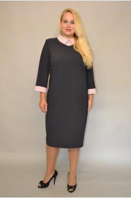 932. Платье делового стиля из Костюмной ткани в полоску цвет Темно-синий