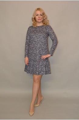 953. Платье из Трикотажной ткани с люрексом рисунок Цветы