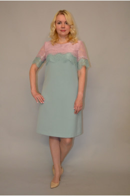 920. Платье из Гипюра и Крепа цвет Пудра и Серо-зеленый